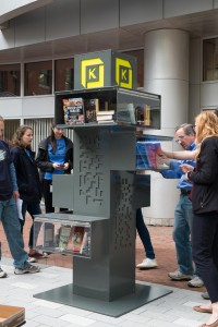 On May 19th the project team gathered at the Kendall Square installation sites to stock the kiosks, and (maybe) took home a new book!